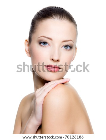 Lifestyle - Pagina 5 Stock-photo-beautiful-young-woman-with-clean-skin-of-the-face-pretty-female-posing-on-white-background-70126186