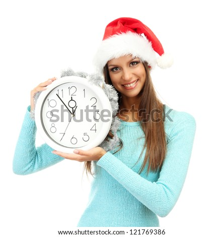 beautiful young woman with clock, isolated on white