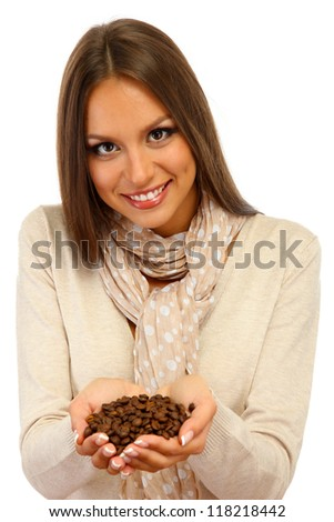 beautiful young woman with coffee beans, isolated on white