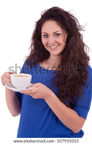 beautiful young woman with cup of coffee isolated on white