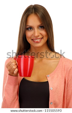 beautiful young woman with cup of tea, isolated on white