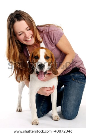 beautiful young woman with dogy