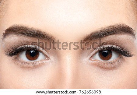 Beautiful young woman with eyelash extensions, closeup - Shutterstock ID 762656098