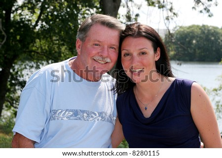 beautiful young woman with father or uncle