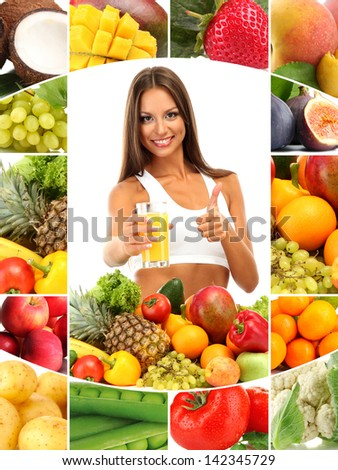 Beautiful young woman with fruits and vegetables and glass of juice