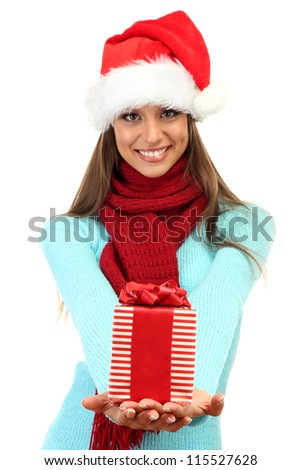 beautiful young woman with gift, isolated on white