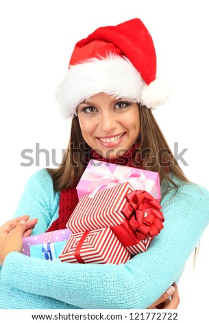beautiful young woman with gifts, isolated on white