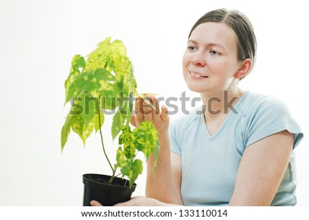 Beautiful young woman with green sprout of tree in her palms