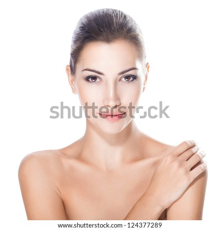 beautiful young woman with healthy face and clean skin isolated on white background