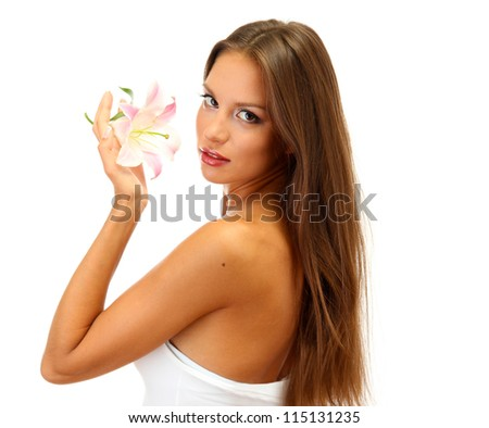 beautiful young woman with lily, isolated on white