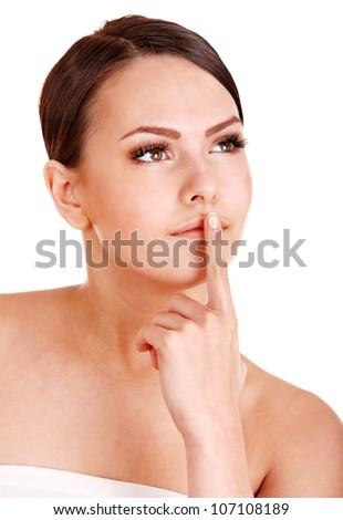 Beautiful young woman with long false eyelash. Isolated.