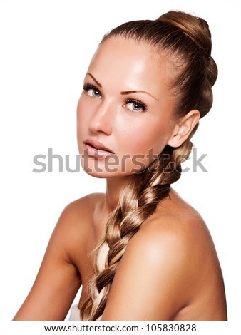 beautiful young woman with long mixed color braid