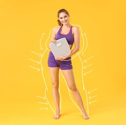 Beautiful young woman with measuring scales after weight loss on color background