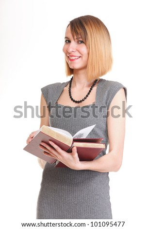 Beautiful young woman with red books isolated on a white background