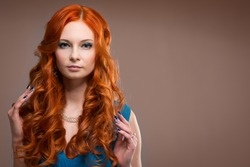 beautiful young woman with red hair beautiful,  red-haired girl with curls