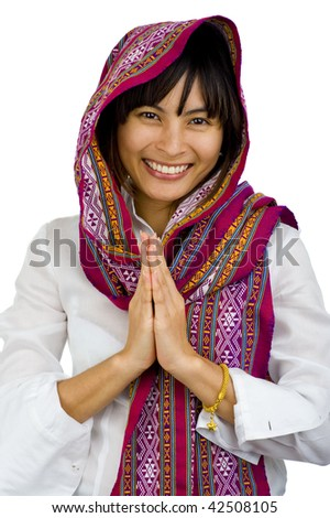 beautiful young woman with scarf over her head, isolated on white