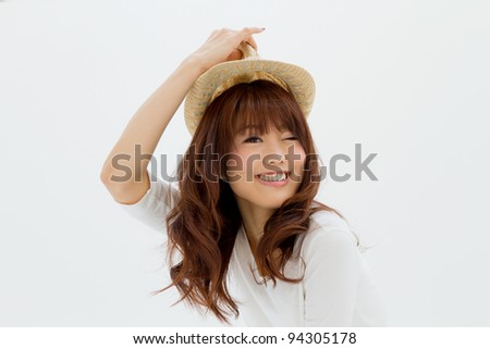 Beautiful young woman with smiling. Portrait of asian woman.