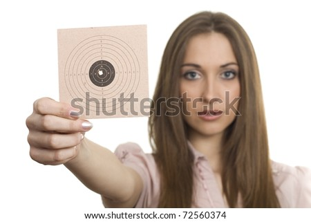 Beautiful young woman with target