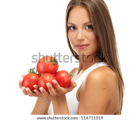 beautiful young woman with tomatoes, isolated on white