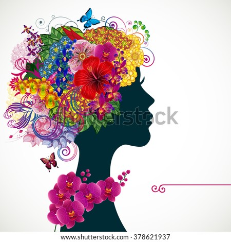 Beautiful young woman with tropicl flowers in heir hair. Illustration greeting card beauty and fashion.