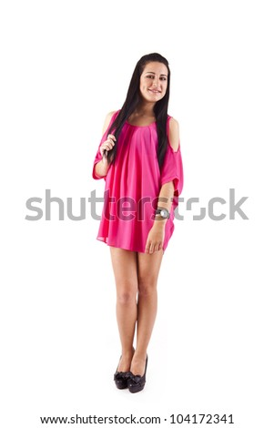 Beautiful young woman with vibrant pink dress