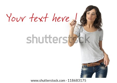 beautiful young woman writing on glass isolated on a white backg
