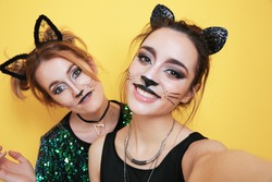 Beautiful young women with cat makeup and ears on color background