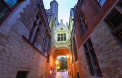 Beautifull Arch between Old Civil Registry and Town Hall, elegant entryway onto Burg Square, Bruges, Belgium.