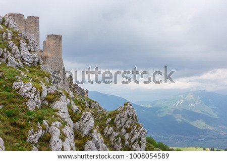 Beautifull castle of Rocca Calascio, famous for the location of the famous movie. In the province of L'Aquila, Abruzzo, Italy #1008054589