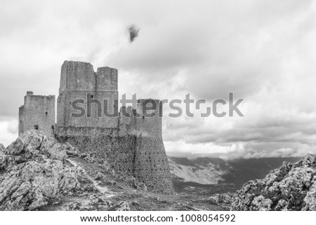 Beautifull castle of Rocca Calascio, famous for the location of the famous movie. In the province of L'Aquila, Abruzzo, Italy #1008054592