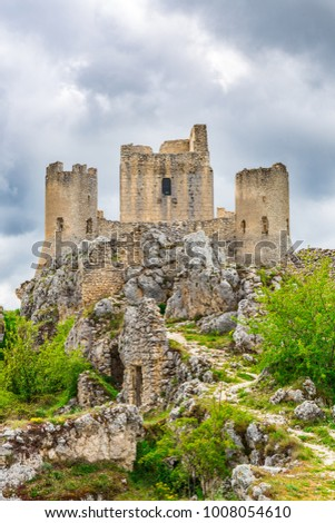 Beautifull castle of Rocca Calascio, famous for the location of the famous movie. In the province of L'Aquila, Abruzzo, Italy #1008054610