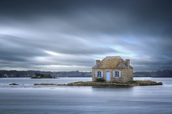Beautifull house isolated on small island in Britanny, France