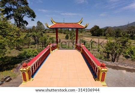 Beautifull Pagoda Ekayana, famous tourist place tourist near Tomohon, trip from Manado, North Sulawesi Utara