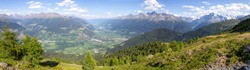 Beautifull panoramic view over the vinschgau valley.