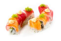 beautifull sushi roll on white background