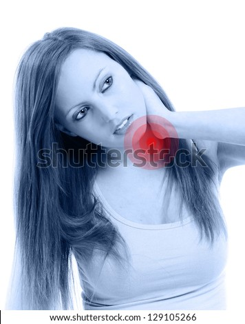 Beautifull Woman Holding Her Neck Because Of Pain, Isolated On ...