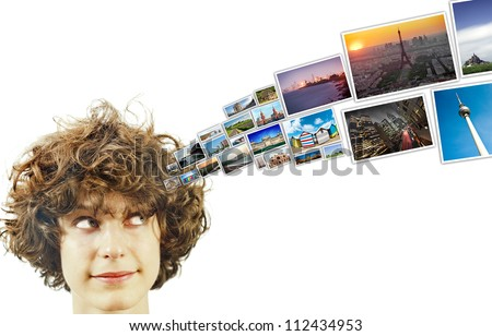 Beautifull young curly hair girl thinking about holidays
