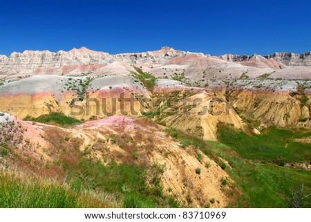 Beautifully colored mountains of Badlands National Park in South Dakota - stock photo