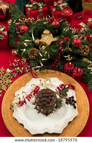 Beautifully decorated Christmas setting with gourmet dessert