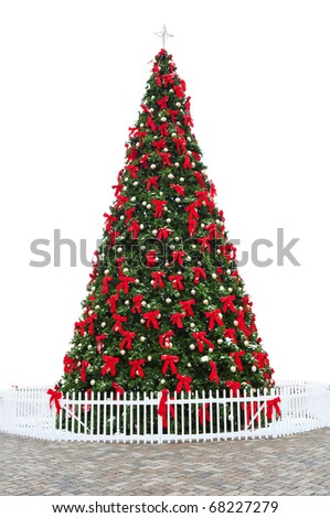 Beautifully Decorated Christmas Tree, Isolated, White