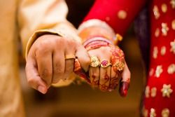 beautifully decorated Indian bride hands, Soft Focus.