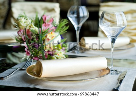 beautifully decorated table in the restaurant