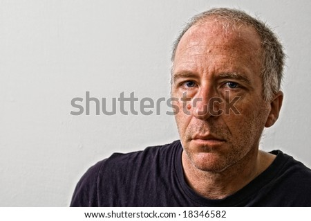 beautifully detailed real portrait of haggared tired looking adult white man looking intensely at the viewer