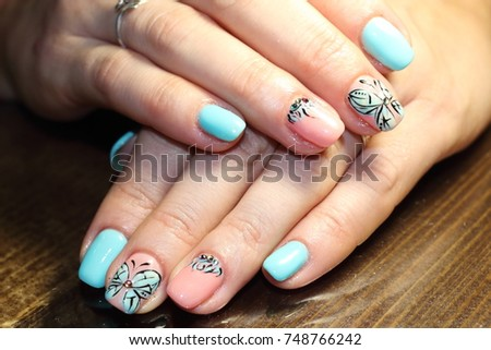 Free Photos Blue Nail Art With White Lace On White Background