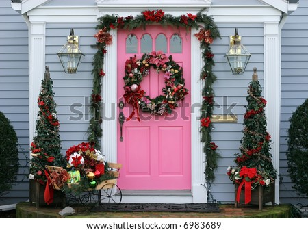 beautifully house entrance decorated for christmas holidays