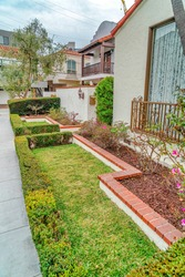Beautifully landscaped yard of a house in the scenic Long Beach CA neighborhood