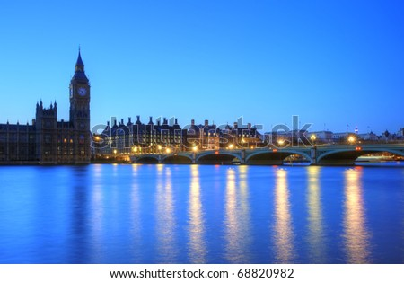 Beautifully lit night cityscape including London landmarks on long exposure