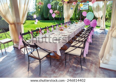 Beautifully organized event - served festive table waiting for guests