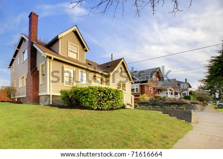 Beautifully restored old craftsman style home in Tacoma, WA. USA. Exterior photo during winter.