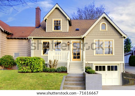 Beautifully restored old craftsman style home in Tacoma, WA. USA. Exterior photo during winter. - stock photo